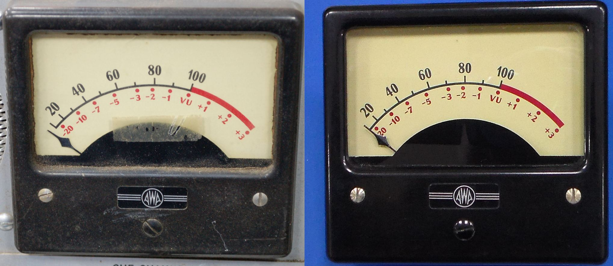 Awa Consolette Bac 1 2g61226 Vu Meter Here Is A Before And After Shot Of The Original Apart From Gerenal Cleaning Polishing Not Much Effort Was Required To Bring Back